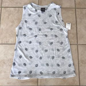 ModernLux Tank Top Size Small Ivory/Gray Footballs